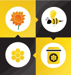 Honey bee flower vector