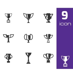 Black trophy icons set vector