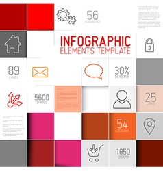 abstract red squares background infographi vector image