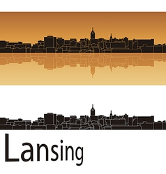 Lansing skyline in orange background vector