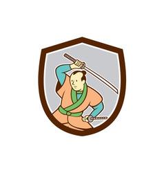 Samurai Warrior Katana Sword Shield Cartoon vector image
