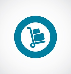 Luggage trolley icon bold blue circle border vector