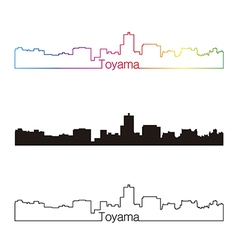Toyama skyline linear style with rainbow vector