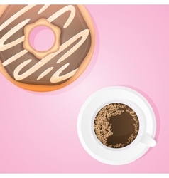 Donut with cup of coffee vector