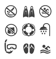 Swimming pool icons diving mask flippers and vector