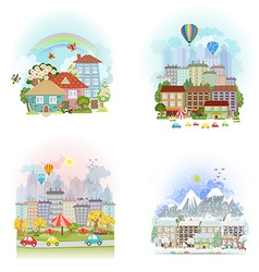 Lovely set cards of cute cityscape urban landscape vector