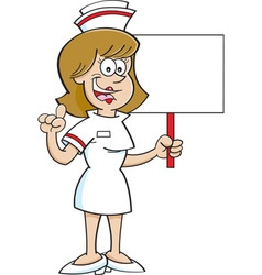 Cartoon nurse holding a sign vector