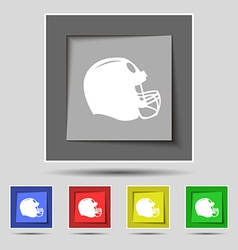 Football helmet icon sign on original five colored vector