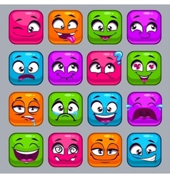Funny cartoon colorful square faces vector image