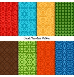 Colored traditional arabic patterns set vector