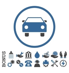 Car flat rounded icon with bonus vector