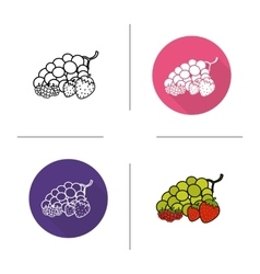 Berries flat design linear and color icons set vector image