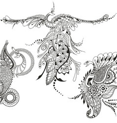 Bird Phoenix three Peacocks for tattoo template vector image vector image