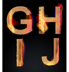 burning letters GHIJ vector image