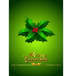 Christmas Card Holly - Green Background vector image