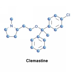 Clemastine antihistamine and anticholinergic vector image vector image