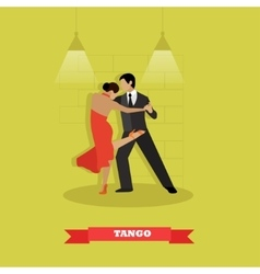 Couple dance tango concept poster Man and vector image
