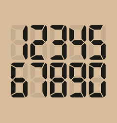 Digital glowing numbers electronic figures vector
