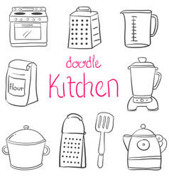 doodle of kitchen set style art vector image vector image