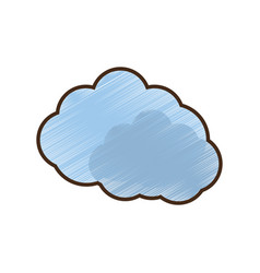 drawing blue cloud symbol vector image