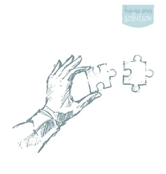 Drawn hand connecting puzzle solutions sketch vector image