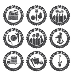 farmers eco labels vector image