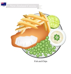 Fish and chips a popular dish of new zealand vector
