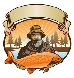 Fisherman show his fish vector