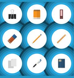 Flat icon tool set of notepaper drawing tool vector