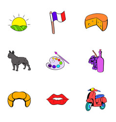 French nation icons set cartoon style vector