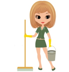 Girl the cleaner vector