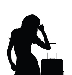 girl travel with suitcase vector image