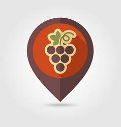 Grapes flat pin map icon fruit vector