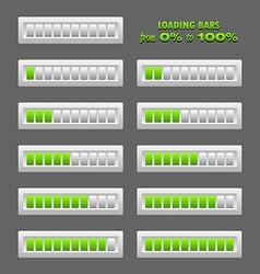 Green loading bars vector