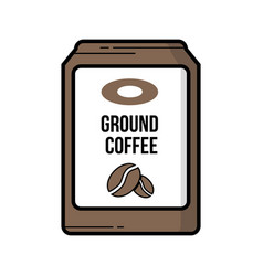 Ground coffee bag vintage icon vector