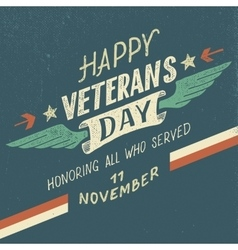 Happy Veterans day typographic design vector image