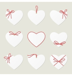 Hearts with ribbons ahd bows in twine style vector