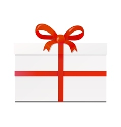 Isolated white gift box with red ribbon vector image vector image