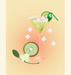 Kiwi fruits fresh cocktail glass summer drink vector
