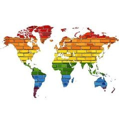 Map of World in colors of pride flag vector image vector image