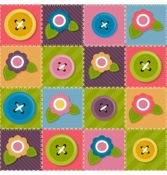 Patchwork background with flowers and sewing vector image vector image