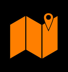 Pin on the map orange icon on black background vector
