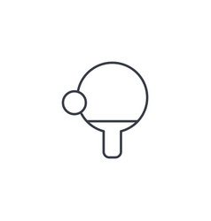ping pong racket and ball thin line icon linear vector image