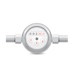 Realistic analog water meter sanitary equipment vector