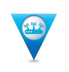 Router blue triangular map pointer vector