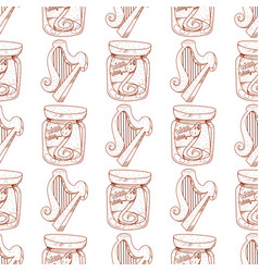 Seamless pattern with a harp and a serpent in a vector