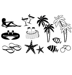 Set of icons of summer holiday on the coast vector image vector image