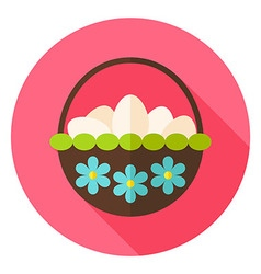 Spring Basket with Flowers full of Eggs Circle vector image vector image
