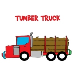 Timber truck with hand draw vector