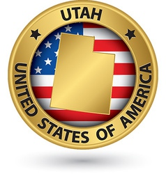 Utah state gold label with state map vector image vector image